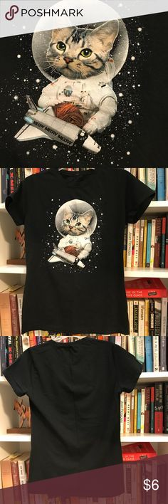 Space cat astronaut cat graphic tee Space cat astronaut cat graphic tee - can also fit a women's size small k.i.d. Shirts & Tops