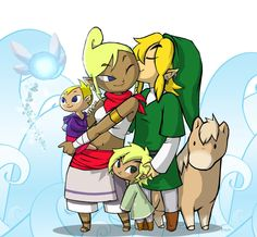 Link Tetra Finn(on the ground) and Shelli(in Tetra arms)