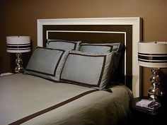 Dig the bold, graphic lines of this headboard, and how they're reflected in both the bedding and the lamps.