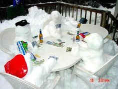 Snowman card game -- what a clever way to deal with a big pile of snow on your…
