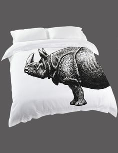 Hand-printed Rhino Duvet Cover http://at broswithbeards.com.