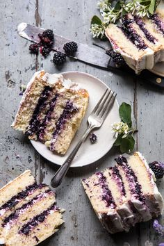 ... blackberry lavender naked cake with white chocolate buttercream ... #recipe #chocolate
