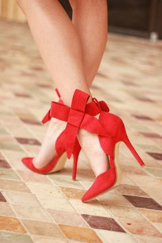 Wrapped in Red: Red Suede Bow Heels - Diary of a Debutante Red Bow Heels, Bow Shoes, Shoes 2018, Classy Women, Women's Shoes Sandals, Women Sandals, Shoes Sneakers, Ankle Straps, Womens Shoes Wedges
