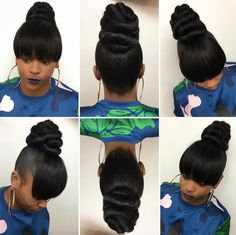 Hairstyle 17 Bun Hairstyles Worth A Steal - Bun Hairstyles 17 Bun Hairstyles Worth A Steal - Bun Hairstyles Curly Side Bangs Into High Bun Hairstyles Black Ponytail Hairstyles, Ponytail Styles, My Hairstyle, Weave Hairstyles, Straight Hairstyles, Girl Hairstyles, Curly Hair Styles, Black Hair Bun Styles, Ponytails For Black Hair