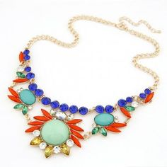Hawaii Fashion Floral Combo Rhinestone Necklace - Green