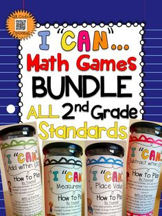 "A Complete Bundle of Second Grade ""I CAN"" math games! Covers ALL Common Core Standards of 2nd grade MATH! Perfect for Math Centers & Test Prep! With QR codes! Paid"