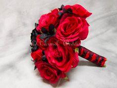 Gothic bouquet Black Red for brides by CarmelWedding on Etsy, $80.00  www.atyourserviceweddings.net  www.facebook.com/rocnrevmike