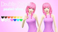 """pastel-sims: """" Double Braids! ♥ New Hair Mesh! (Converted for Adults!) • Disabled for random. • Recoloring/Retexturing/Converting allowed (Please give me credit and tag me!) • Comes in base game..."""