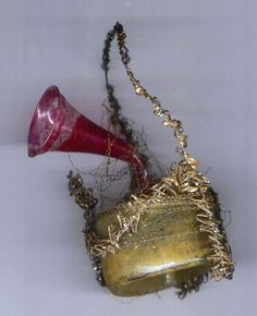 Early wire wrapped music box ornament Germany 19th c collection of Linda Pastorino