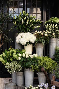 Flower Gardening Design Florist Style in Garden Design - Florist Style. An assemblage of flowers or plants arrayed as if outside a florist shop, a charming florist shop, but in your garden. New client yesterday, and she' My Flower, Fresh Flowers, White Flowers, Beautiful Flowers, Beautiful Images, Summer Flowers, Cut Flowers, White Hydrangeas, Rustic Flowers