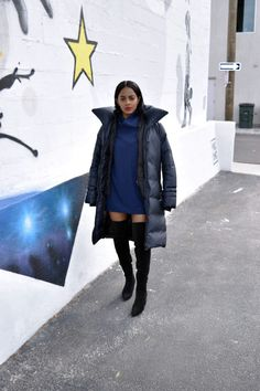 Blue | Black - Navy blue puffer coat by Soia and Kyo, Zara over the knee boots, Reformation Greenland dress, Kenzo wallet on a chain.