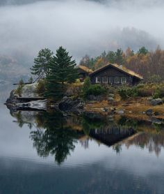 Lake cabin with sod roof