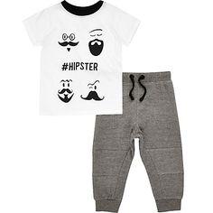 Mini boys white hipster tee