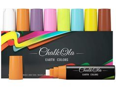 Jumbo Classic Earth Color Chalk Markers For Windows - Pack Of 8 – Chalkola Art Supply Chalk Fonts, Chalk Lettering, Liquid Chalk Markers, Paint Markers, Window Markers, Cool Calendars, Earth Color, Window Signs, Wow Products