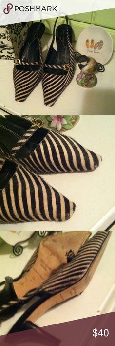 Kate Spate sz 7.5  calf hair heels Nice used shoes brown/tan stripes. Nice. Great price!!! Made in Italy kate spade Shoes Heels