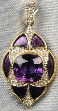 """""""Edwardian 18kt Gold, Amethyst, Enamel, and Diamond Pendant,"""" Marcus & Co., of navette form, bezel-set with a cushion-cut amethyst, old European-cut diamond accents, and purple enamel reserves, lg. 1 3/8 in., signed. Via Skinner. 