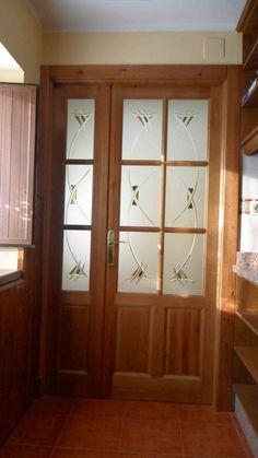 puerta saln cristales lateral fijo fondo vidrio al cido y fusing