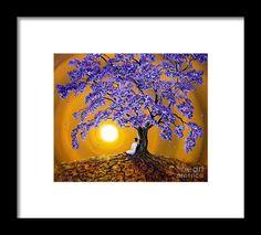 Jacaranda Sunset Meditation Framed Print by Laura Iverson Tree Woman, Hanging Wire, Fine Art America, Meditation, Framed Prints, Sunset, Artwork, Paintings, Printed