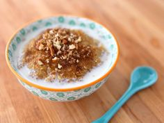 Recipe for Maple Brown Sugar Quinoa breakfast porridge - creamy, healthy, oatmeal-like breakfast with protein. Kosher, pareve or dairy.