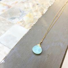 Sea Foam Green Briolette Bead Necklace from Midori Jewelry!