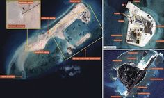 China building island large enough for an airfield in disputed south sea waters as satellite images show workers expanding on archipelago of military bases