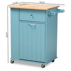 Provide an essential and ultimate addition to your kitchen space with the help of this affordable Baxton Studio Liona Sky Blue Wood Kitchen Storage Cart. Kitchen Storage Cart, Kitchen Cart, Kitchen Organization, Kitchen Garbage Can Storage, Kitchen Ideas, Storage Trolley, Kitchen Decor, Storage Drawers, Storage Shelves