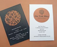 Business cards for 'On the Hill', Ruthin White Fox, Fox Design, Copywriting, Corporate Identity, Business Cards, Editorial, Lipsense Business Cards, Name Cards, Brand Identity