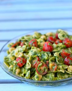 This pasta salad is tossed in a creamy avocado pesto.