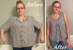 Blouse Refashion by CarissaKnits. The new front has some pleats that are sewn down for the first few inches. I've been collecting too big - too boxy floral shirts at thrift stores - good refashion. Flowy Floral Top - Before & After Refashion a buttondown Diy Clothing, Sewing Clothes, Blouse Refashion, Umgestaltete Shirts, Diy Vetement, Oversized Blouse, Altering Clothes, Refashioning, Floral Tops