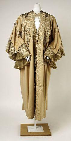 Evening coat Design House: House of Worth Date: ca. 1905 Culture: French Medium: wool, silk, cotton, rhinestones, metallic thread Accession Number: 1976.234