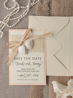 Beach inspired Save the Date stationery