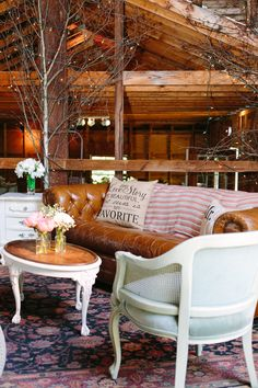 Barn Lounge Setting at The Hill, Hudson. Hudson Valley Vintage Rentals. Jessica Cooper Photography.