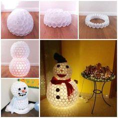 Wonderful DIY Fun Snowman From Plastic Cups