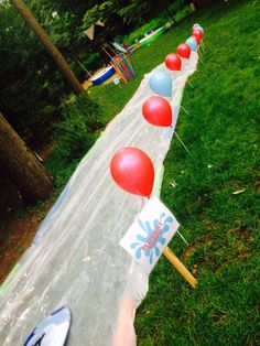 Connor's Wet & Wild Wipeout Party with detailed instructions for setting up obstacles Wipeout Birthday, Wipeout Party, Backyard Birthday, Outdoor Birthday, Pokemon Birthday, Pokemon Party, 10th Birthday Parties, Birthday Party Games, Kindergarten Party