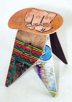 Recycled Skateboard Stool - No.513 by Deckstool. Broken skateboards furniture. Excellent skater gift. Toy Machine fist on the seat!