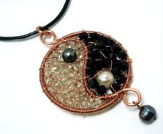 Yin Yang Pendant. Wire wrapped jewelry. Handmade. by AccentJewels