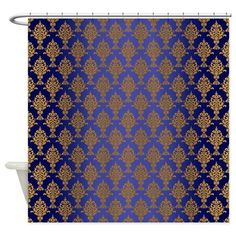 Damask Gold On Royal Blue Shower Curtain