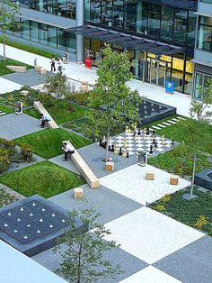 Plantings, benches and chess board in The Park office complex, Prague, Czech Republic by Cigler Marani Architects. Click image for link to full profile and visit the slowottawa.ca boards >> http://www.pinterest.com/slowottawa/boards/
