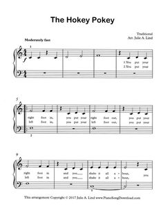 The Hokey Pokey, free easy piano sheet music to print with lyrics.