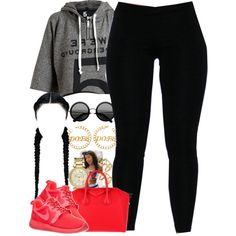 A fashion look from September 2014 featuring zip shirt, black leggings and NIKE. Browse and shop related looks.