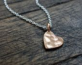 Hammered Rose Gold Heart Necklace / Tiny Pink Gold Heart Necklace / Dainty Simple Rose Gold Necklace