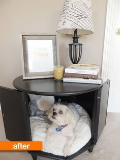 pet bed made from end table | Before & After: Merrill's Side Table Pet Bed | Apartment Therapy