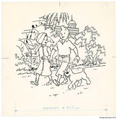 Herge Tintin, Ligne Claire, Comic Books Art, Book Art, Drawing Reference, Mickey Mouse, Activities, Cartoon, Black And White