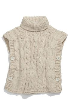 Knitting Patterns Sweter Main Image - United Colors of Benetton Kids Sweater Vest (Little Girls & Big Girls) Baby Knitting Patterns, Knitting For Kids, Knit Vest, Knitted Poncho, Knit Cowl, Kids Poncho, Refashioning, Baby Sweaters, Cable Knit