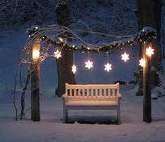 weihnachtlicher Ausblick in den Garten