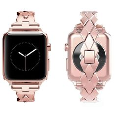 Amazon.com: For Apple Watch Band, Wearlizer Rhombus Design Bands Replacement iWatch Stainless Steel Strap for Apple Watch Series 1, Series 2, Series 3, Sport, Edition---42mm Pink Rose Gold: Watches