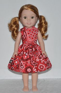 Western Print Doll Dress Made To Fit Wellie Wisher
