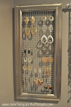 DIY Jewelry Wall Organizer. Chicken wire from Ace hardware and a cool frame. Replace the glass with the chicken wire.