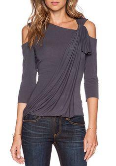 Grey Plain Asymmetric Shoulder Boat Neck Casual Silk T-Shirt