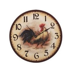 This French Country Rooster Kitchen Decor clock says it is time for the Rooster blog party